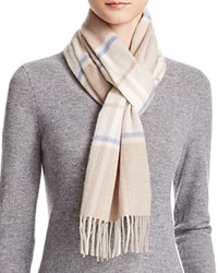 Bloomingdale's C By Cashmere Plaid Scarf Oatmeal Ivory Sky