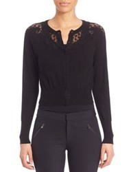 Rebecca Taylor Lace Inset Cardigan Black