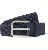 Loro Piana 3.5Cm Navy Braided Suede Belt Blue