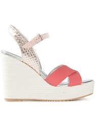 Hogan Contrast Wedge Sandals Pink And Purple