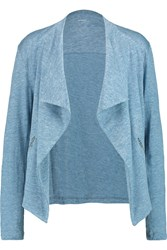 Majestic Draped Linen And Silk Blend Jersey Jacket Blue
