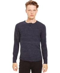 Kenneth Cole Reaction Marled Slub Henley Sweater Indigo