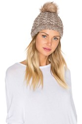 Michael Stars Lattice Knit Beanie With Faux Fur Pompom Brown