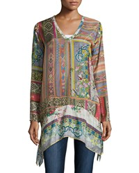 Johnny Was Long Sleeve Patchwork Print Tunic Multi Print B