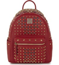 Mcm Stark Special Mini Leather Backpack Ruby Red