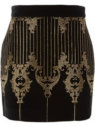 Balmain Studded Baroque Pattern Skirt Black