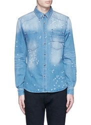 Givenchy Distressed Denim Shirt Blue
