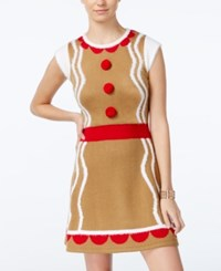 Hooked Up By Iot Juniors' Gingerbread Holiday Sweater Dress Tobacco Brown