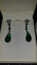 Pamela Huizenga Custom Platinum Emerald And Diamond Earrings Green