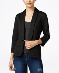 Say What Juniors' Shawl Collar Knit Blazer Black