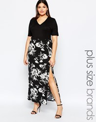 Club L Plus Maxi Dress With V Neck And Floral Printed Skirt Blackblackfloral