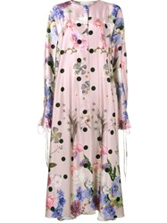 Natasha Zinko Floral Satin Maxi Dress Pink And Purple