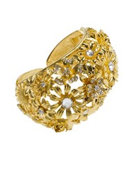 Kenneth Jay Lane Floral Open Cuff Bracelet Gold
