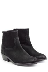 Zadig And Voltaire Teddy Suede Ankle Boots Black