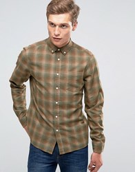 Asos Check Shirt In Camel With Long Sleeves Camel Tan
