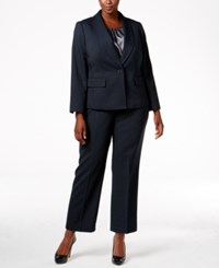 Le Suit Plus Size Three Piece One Button Pantsuit Midnight Storm