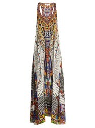Camilla Echos Of Engai Print Racer Back Silk Maxi Dress Multi