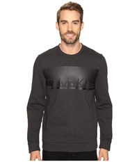 Calvin Klein Long Sleeve Printed Crew Neck Sweatshirt Gunmetal Heather Men's Sweatshirt Gray