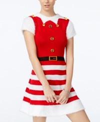 Planet Gold Juniors' Elf Holiday Sweater Dress Red White
