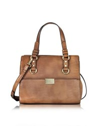 Roccobarocco Small Lizard Print Eco Leather Tote Bag Brown