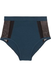 Skin Stretch Pima Cotton And Stretch Tulle Briefs Storm Blue