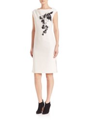 Josie Natori Embellished Boatneck Dress White