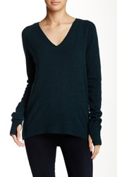Pam And Gela V Neck Long Sleeve Sweater Green