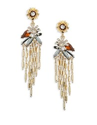 Design Lab Lord And Taylor Cluster Floral Drop Earrings Black