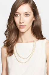 St. John Signature Faux Pearl Necklace Gold Crystal Pearl