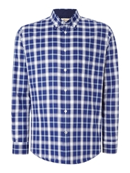 T.M.Lewin Oxford Check Button Down Shirt Teal