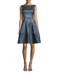 Talbot Runhof Golo Iridescent Fit And Flare Dress Navy