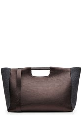 Brunello Cucinelli Textured Leather Tote With Bead Embellishment Brown