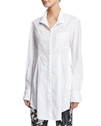 Donna Karan Long Sleeve Button Front Tunic White
