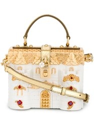 Dolce And Gabbana 'Dolce' Castle Box Tote White