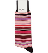 Paul Smith Multi Striped Cotton Mix Socks Pink