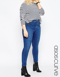 Asos Curve Ridley Skinny Jeans In Reef Wash Blue