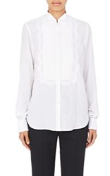 Givenchy Women's Lace Trimmed Tuxedo Blouse White