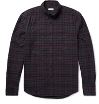 Steven Alan Collegiate Slim Fit Checked Cotton Flannel Shirt Red