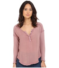 Free People Sunday Henley Elderberry Women's Long Sleeve Pullover Red