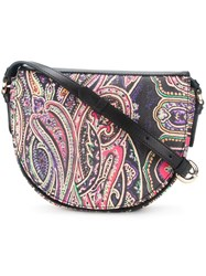 Etro Paisley Print Saddle Bag Black