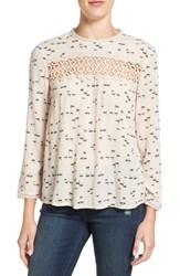 Hinge Women's Lace Inset Top Ivory Shell Swans