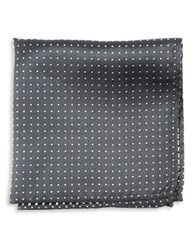 The Tie Bar Silk Dotted Pocket Square Charcoal