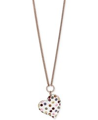 Betsey Johnson Copper Tone Multi Crystal Lucite Heart Pendant Necklace