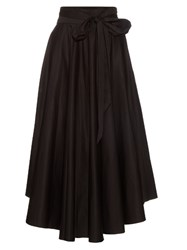 Tibi High Rise Cotton Maxi Skirt Black
