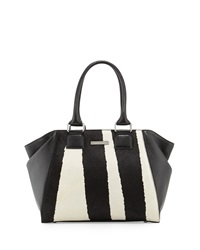 Charles Jourdan Lovi Leather Zebra Print Calf Hair Tote Bag Black