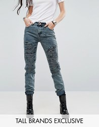 Glamorous Tall Washed Boyfriend Jeans With Extreme Distress And Sequin Inserts Denim Teal Blue