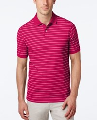 Club Room Men's Big And Tall Performance Uv Protection Striped Polo Cherry Pink