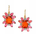 Irene Neuwirth One Of A Kind 18K Rose And White Gold Earrings Set With Fire Opal 6.76Cts Pink Tourmaline 8.32Cts And Full Cut Diamonds 0.64Cts On Pave Hooks 0.03Cts Red