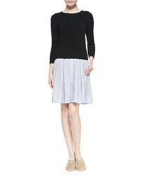 Band Of Outsiders Cable Knit Sweater Shirtdress Black