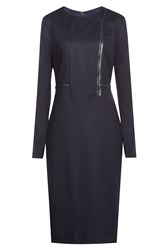 Max Mara Virgin Wool Dress With Leather Blue